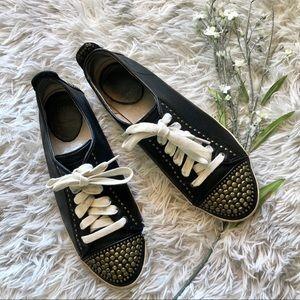 Frye Kira Studded Low Lace Up Sneaker Black Sz 8.5